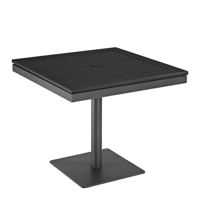 Gloster Azore Square Pedestal Table Black Aluminium Slatted Top - White square pedestal table