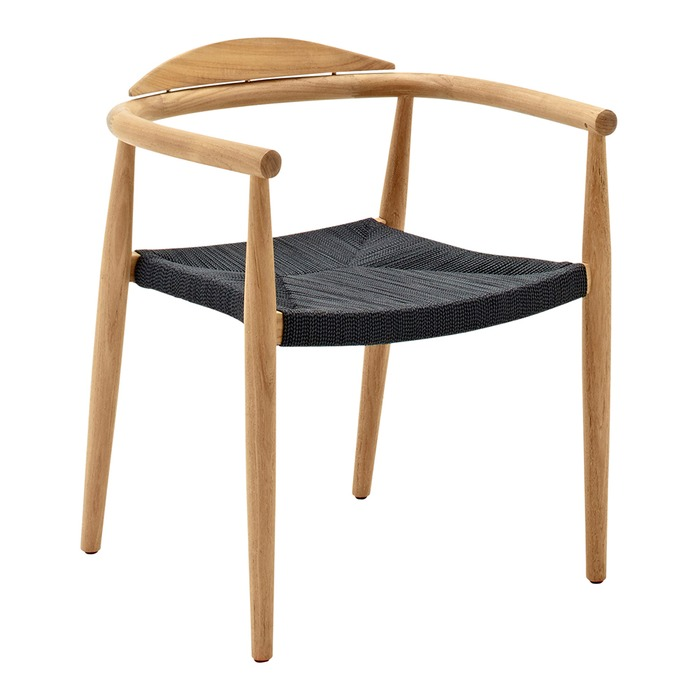 Attirant Dansk Stacking Chair With Arms Buffed Teak (Flint Rope)