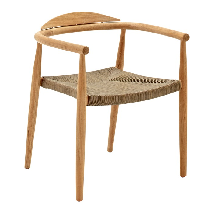 gloster dansk stacking chair with arms buffed teak putty wicker