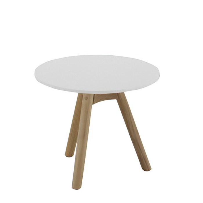Dansk Round Side Table   White Acrylic Stone Top