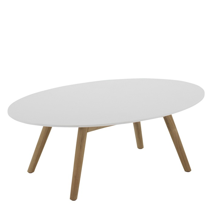 Dansk Oval Coffee Table   White Acrylic Stone Top