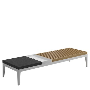 Grid Large Rectangular Coffee Table - Teak & Stone Tops
