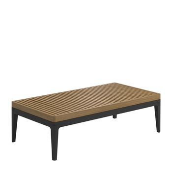 Grid Small Coffee Table - Buffed Teak Top (Meteor)