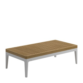 Grid Small Rectangular Coffee Table - Teak Top