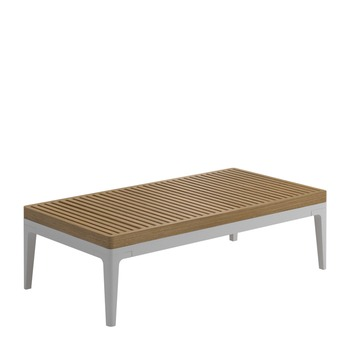 Grid Small Coffee Table - Buffed Teak Top (White)
