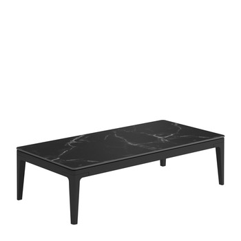 Grid Small Rectangular Coffee Table - Nero Ceramic Top