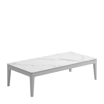Grid Small Rectangular Coffee Table - Bianco Ceramic Top