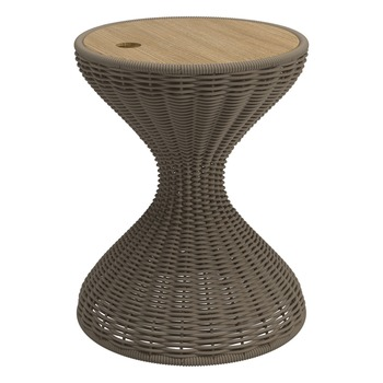 Bells Woven Side Table - Buffed Teak Top (Parchment)