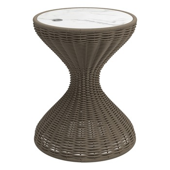 Bells Woven Side Table - Bianco Ceramic Top (Parchment)