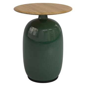 Blow 42cm Round Side Table - Buffed Teak (Emerald)