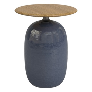 Blow 42cm Round Side Table - Buffed Teak (Midnight)