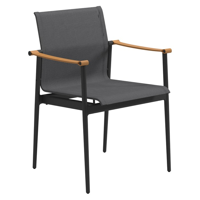 gloster 180 stacking chair with leather arms meteor anthracite