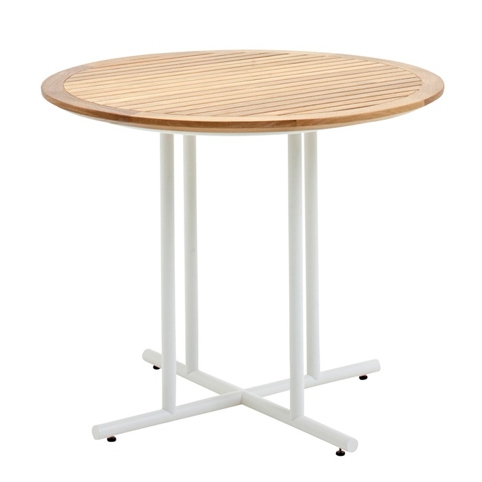 Gloster whirl small round table buffed teak top white for Round teak table top